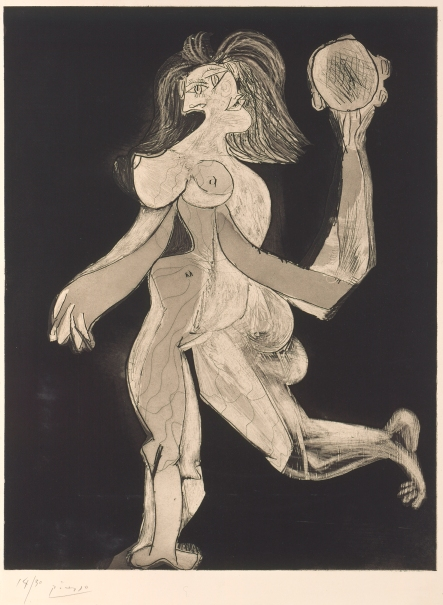Woman with Tambourine (La Femme au tambourin) by Pablo Picasso, 1939, courtesy of Museum Berggruen